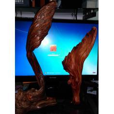 崖柏神雕,风之羽,太行陈化骨料,双色雕塑一对