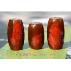 战国红象形精品,宣化战国红同料三朵花,玉兰海棠牡丹,玉堂富贵