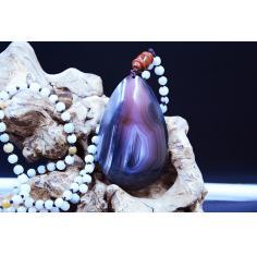 宣化战国红吊坠,紫罗兰水晶冻白縞闪丝,千层板,战国红精品收藏