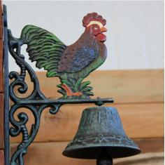公鸡铸铁大铃铛 别墅花园庭院铃铛装饰外贸原单欧美乡村复古摆件