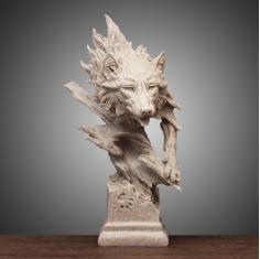 创意摆件狼雕塑模型动物摆设办公室桌面装饰品工艺品软装