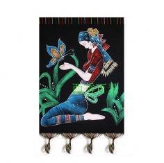 民族风情特产加厚老蜡染台布蜡染桌布壁画工艺品装饰布挂布蝴蝶女