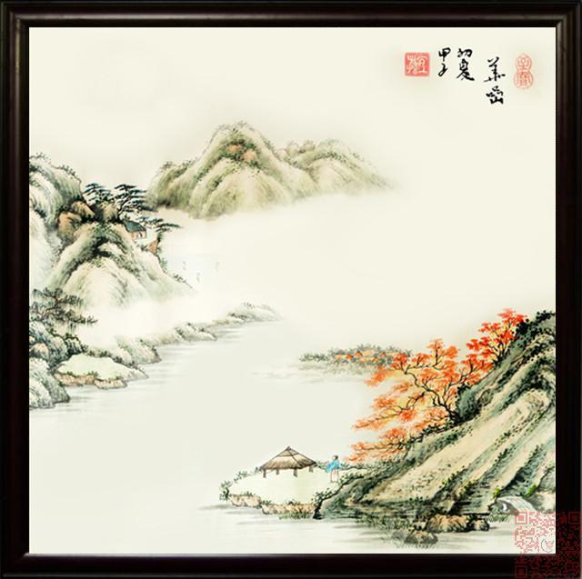 商品名称:景德镇 瓷板画 江南春色 瓷画山水画 风景画 高级中式会所