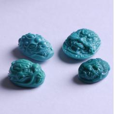 墨麒原矿三无湖北绿松石雕刻件戒面高瓷高篮兽面龙头一念之间戒指