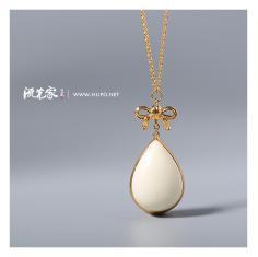 流光家 原创设计 守护系列18k金白蜜蜡水滴吊坠 天然琥珀蜜蜡原石