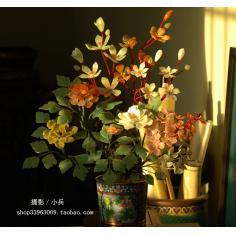 北京景泰蓝老货景泰蓝花盆+天然玉石+手工制作红绵牡丹(东陵石)
