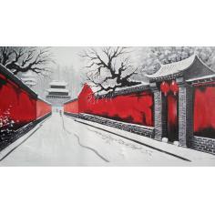 胡同   红墙白雪