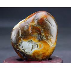 新疆和田玉籽料原石手把件黄沁皮红沁羊脂白玉玉牌挂件摆件625克