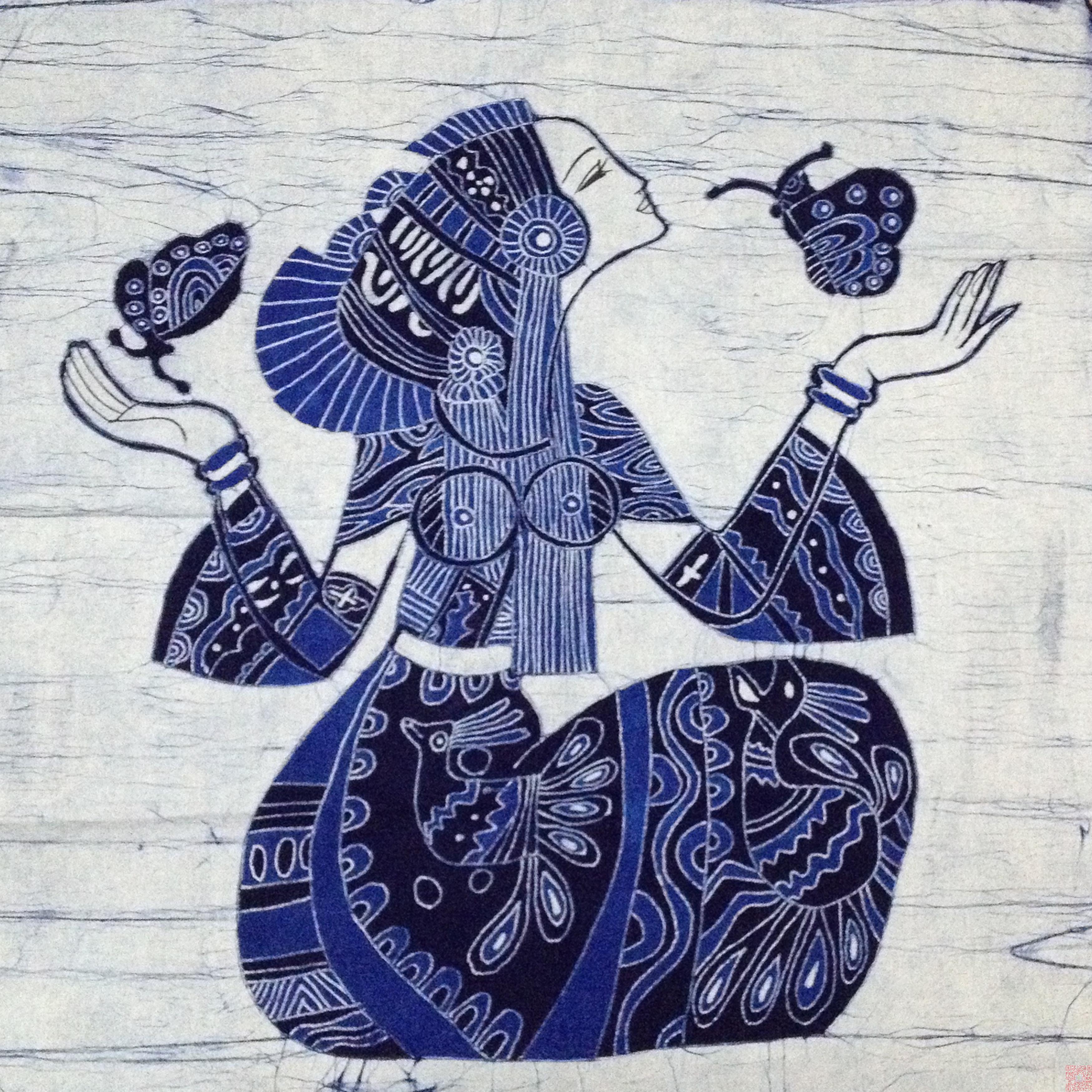 外事礼物云南特色手绘经典蜡染画壁挂民族风亲子装饰