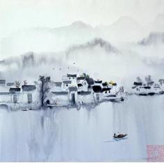 水墨宏村,四尺斗方