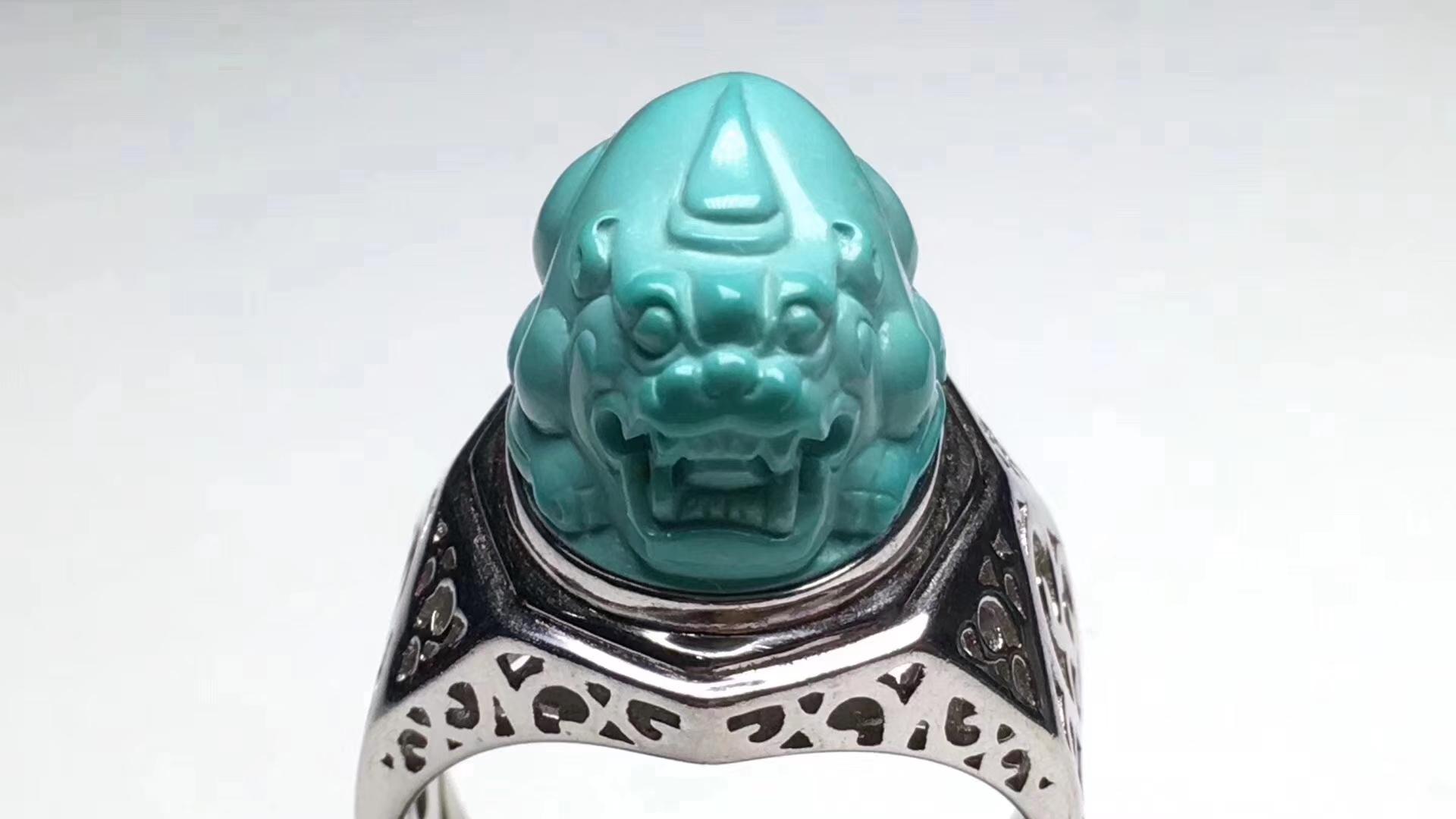 原矿绿松石精工雕刻招财貔貅, 尺寸18.7*13.5mm,重12克