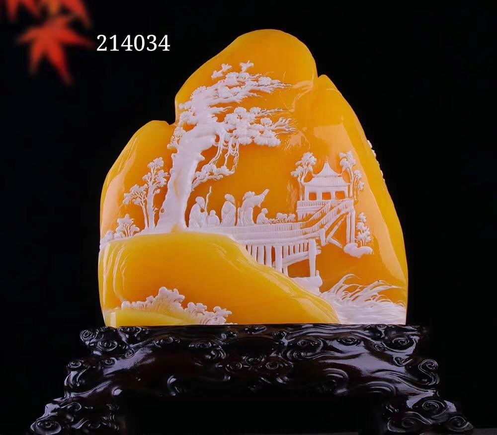 松下雅聚 金冻石  完美质地,色泽温润,精雕细琢,寓意吉祥,可鉴定,收藏送礼佳品!
